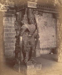 Close view of pillar with sculptured figure from the Pudu Mandapa, Minakshi Sundareshvara Temple, Madurai. 10032319